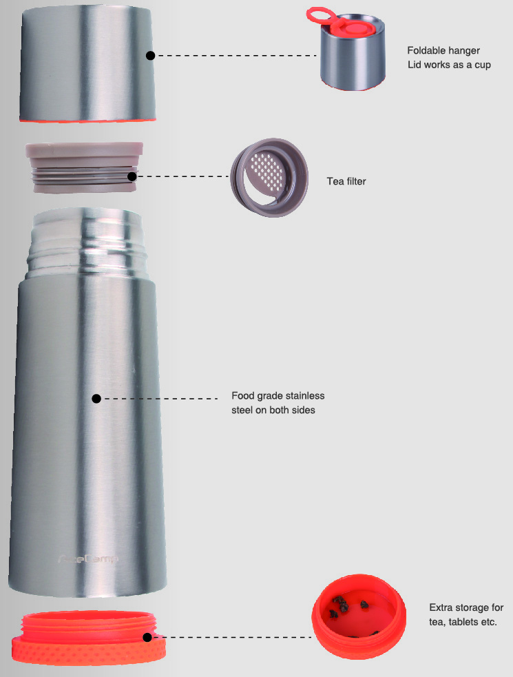 Ace Camp Stainless Steel Vacuum Bottle 370ml. Silver